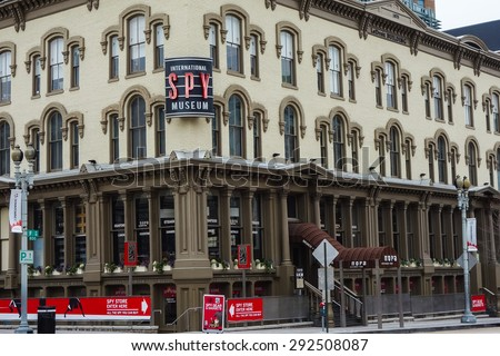 WASHINGTON DC - JANUARY 13, 2015: International Spy Museum in Washington DC. It is one of the major tourist magnets in the nation's Capital and  opened  on July 19, 2002. - stock photo