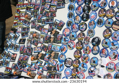WASHINGTON, DC - JANUARY 20, 2009: One of many streetside vendor stands selling Barack Obama paraphernalia at the Inauguration, January 20, 2009. - stock photo