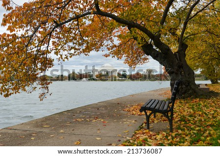 Washington DC, Jefferson Memorial in Autumn  - stock photo