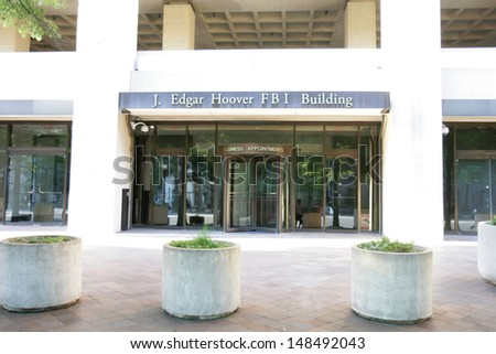 WASHINGTON, DC - JULY 29: An exterior view of the J. Edgar Hoover Building, FBI Headquarters, is shown on July 29, 2013 in Washington. The bureau was established in 1908. - stock photo