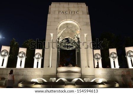 WASHINGTON, DC-JUNE 22: World War Memorial II at Night on June 22 2013 in Washington,DC USA. People from all over the world come to visit, it is dedicated to Americans who served in the armed forces. - stock photo