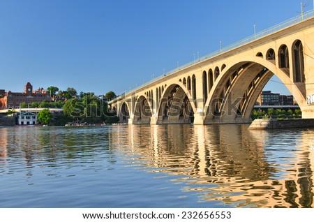 Washington DC - Key Bridge and reflection over Potomac River - stock photo
