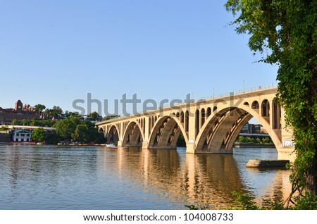 Washington DC - Key Bridge on Potomac River - stock photo