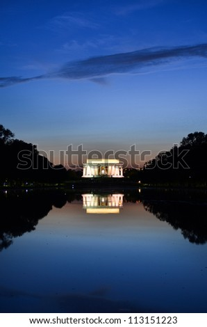 Washington DC, Lincoln Memorial and mirror reflection on the pool at night - stock photo
