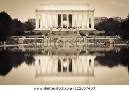 Washington DC, Lincoln Memorial and mirror reflection on the pool at night - Sepia - stock photo
