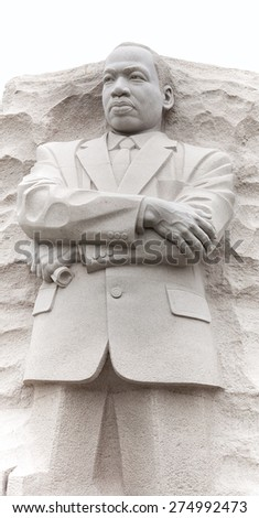 WASHINGTON DC - March 26, 2013:  Luther King Statue isolate on white background - stock photo