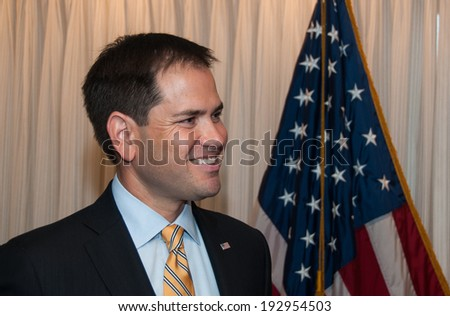 WASHINGTON, DC - MAY 13, 2014: First-term Republican Senator from Florida and potential presidential candidate, Marco Rubio, speaks at a National Press Club luncheon. - stock photo