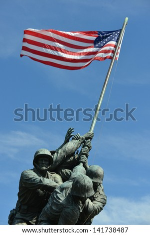WASHINGTON, DC - MAY 05: Iwo Jima Memorial in Washington, DC on May 05, 2013. The Memorial honors the Marines who have died defending the US since 1775. - stock photo