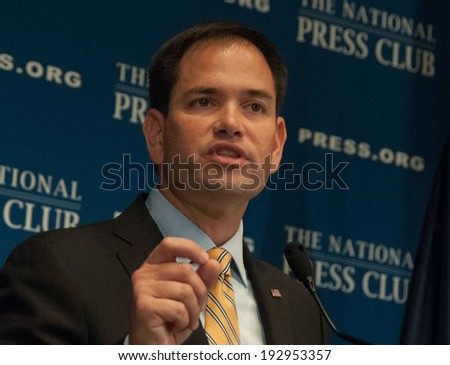 WASHINGTON, DC - MAY 13, 2014: Senator Marco Rubio, first-term Republican from Florida and potential Republican presidential candidate speaks at a luncheon at the National Press Club  - stock photo