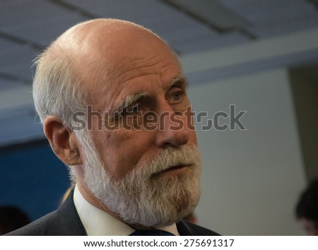 Washington, DC - May 4, 2015: Vint Cerf, Vice President and Chief Internet Evangelist at Google and one of the fathers of the Internet, speaks at the National Press Club - stock photo