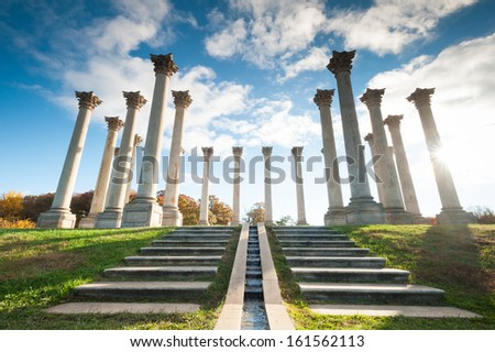 Washington DC National Arboretum Capitol Columns Monument - stock photo