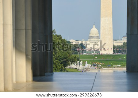 Washington DC - National Mall as seen from the pillars of Lincoln Memorial - stock photo