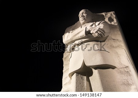 WASHINGTON DC - NOV 24: Martin Luther King Jr. Monument in Washington DC , at night  United States.Washington DC on November 8, 2011. - stock photo