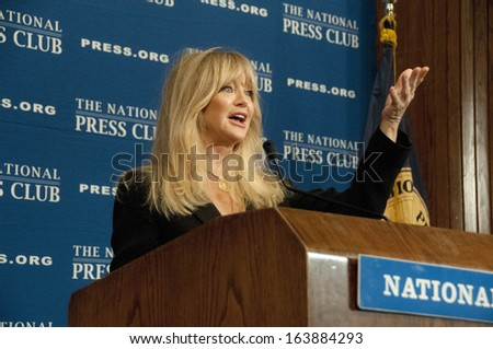 WASHINGTON, DC - NOVEMBER 5: Actress, comedian, and film director Goldie Hawn speaks at the National Press Club, November 5, 2013 in Washington, DC  - stock photo
