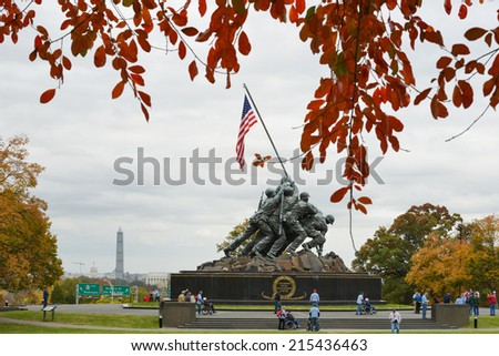 WASHINGTON, DC - NOVEMBER 06, 2013: Iwo Jima Memorial in Washington, DC. The Memorial honors the Marines who have died defending the US since 1775 and a prominent tourist attraction in Washington DC.  - stock photo