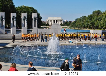 WASHINGTON, DC - OCTOBER 18: Alzheimer's Walk Event on October 18, 2008 in Washington, DC USA. Military Soldiers, and civilians at the World War II Memorial during the Alzheimer's DC Walk. - stock photo