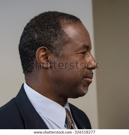 WASHINGTON, DC - OCTOBER 9, 2015:  Ben Carson, retired neurosurgeon, author, and Republican presidential contender, speaks to a National Press Club luncheon - stock photo