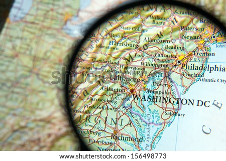 Washington DC on a map - stock photo
