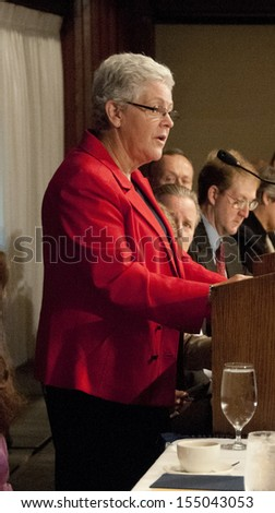 WASHINGTON, DC - SEPTEMBER 20:  Environmental Protection Agency administrator Gina McCarthy speaks on climate change at the National Press Club, September 20, 2013, in Washington, DC - stock photo