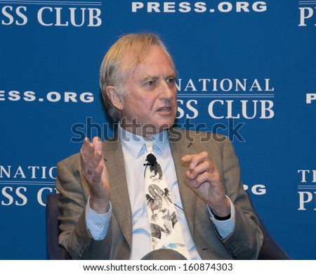WASHINGTON, DC - SEPTEMBER 30: Famed evolutionary biologist Richard Dawkins speaks at the National Press Club, September 30, 2013 in Washington, DC  - stock photo