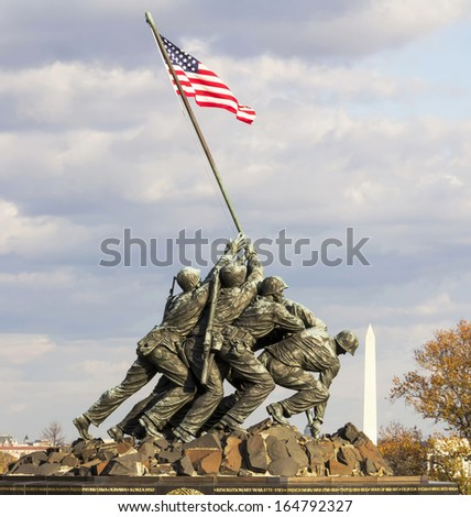WASHINGTON DC -September 18: Iwo Jima statue in Washington DC on September 18, 2011. The statue honors the Marines who have died defending the US since 1775. - stock photo