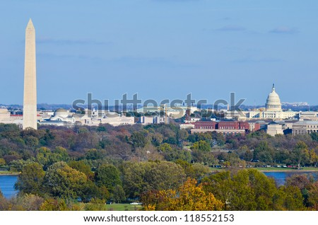 Washington DC skyline in autumn with Washington Monument, United States Capitol building and Potomac River - stock photo
