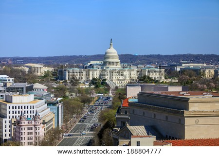Washington DC, skyline with Capitol building and other Federal buildings on Pennsylvania Street - stock photo