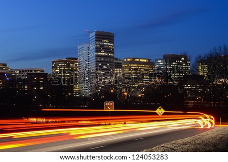 Washington DC - Skyscrapers in Rosslyn - stock photo