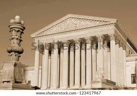 Washington, DC, Supreme Court in  United States of America -sephia - stock photo