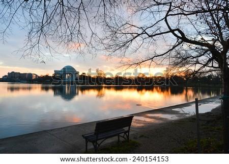 Washington DC, Thomas Jefferson Memorial in autumn sunrise  - stock photo