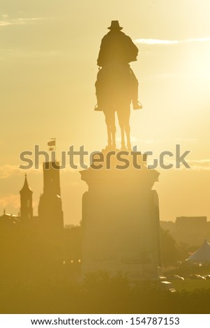 Washington DC - Ulysses S. Grant Memorial silhouette at sunset in front of the US Capitol Building  - stock photo