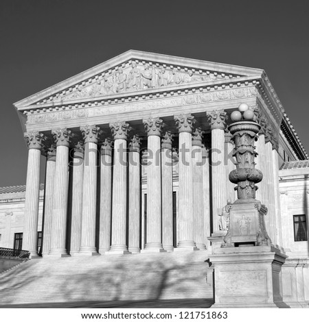 Washington, DC, United States, Supreme Court, B/W - stock photo