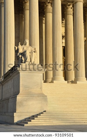 Washington, DC, United States Supreme Court left side sculpture detail - stock photo