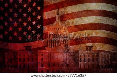 Washington DC US Capitol Building with American Flag Grunge Texture Background Illustration - stock photo