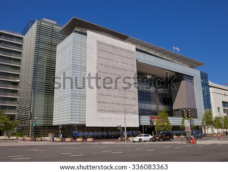 WASHINGTON, DC, USA - MAY 10, 2010: First Amendment of the U. S. Constitution on wall outside the Newseum, on Pennsylvania Avenue. - stock photo