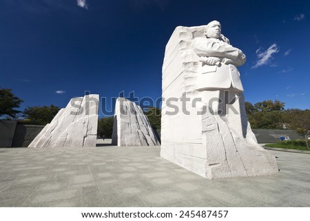 WASHINGTON DC, USA - OCTOBER 17, 2014: The Martin Luther King Jr. Memorial located on the National Mall on the Tidal Basin in Washington DC is America's 395th National Park. - stock photo