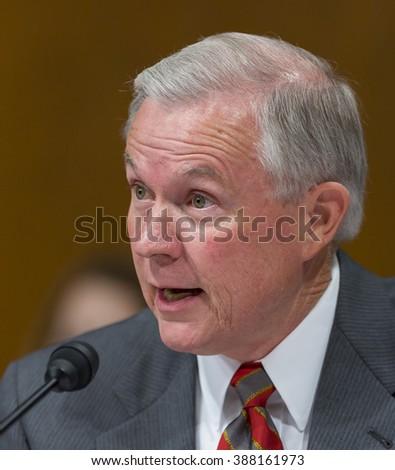 WASHINGTON, DC, USA - SEPTEMBER 13, 2005: U.S. Senator Jeff Sessions (R-AL) during confirmation hearings for U.S.  Supreme Court nominee John Roberts. - stock photo
