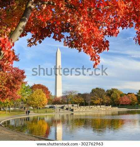 Washington DC - Washington Monument from Constitution Gardens in Autumn  - stock photo
