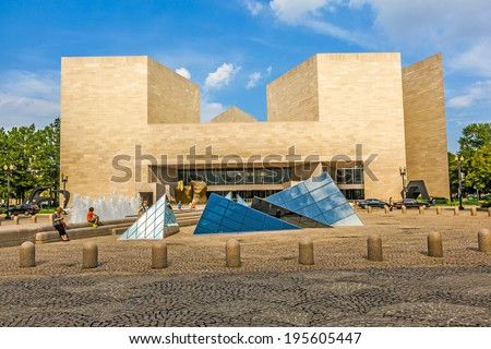 WASHINGTON - JUL 14: The pyramid of the National Gallery of Art pictured on July 14, 2010, in Washington DC. Established in 1937, it is one of the largest Art museum in USA. - stock photo