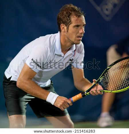 WASHINGTON  JULY 31: Richard Gasquet  (FRA) defeats Tim Smyczek (USA, not pictured)  at the Citi Open tennis tournament on July 31, 2014 in Washington DC - stock photo