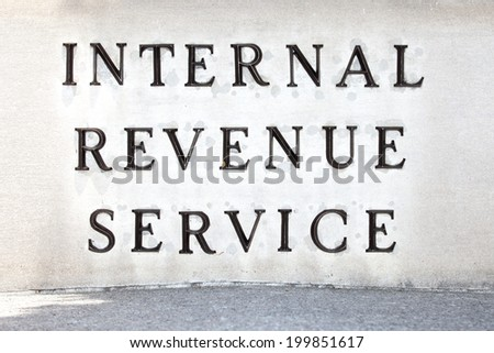 WASHINGTON - JUNE 1: Internal Revenue Service sign on June 1, 2014 in Washington, DC. - stock photo