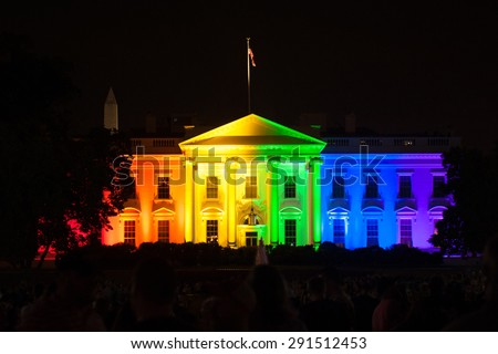 WASHINGTON JUNE 26 - The White House is lit up in rainbow colors to celebrate the Supreme Court's opinion legalizing gay marriage in all fifty states on June 26, 2015 - stock photo