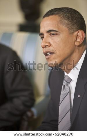WASHINGTON - JUNE 29: US President Barack Obama at the Oval office June 29, 2009 in Washington, DC - stock photo
