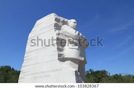 WASHINGTON - MAY 19: A stone sculpture of Dr. Martin Luther King, Jr., on May 19, 2012 in Washington. This memorial is located on the edge of the Tidal Basin at the western end of The National Mall. - stock photo