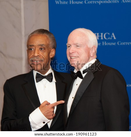 WASHINGTON MAY 3 -�� Al Sharpton and John McCain arrive at the White House Correspondents� Association Dinner May 3, 2014 in Washington, DC - stock photo