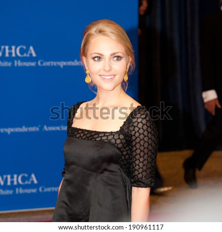 WASHINGTON MAY 3 - AnnaSophia Robb arrives at the White House Correspondents� Association Dinner May 3, 2014 in Washington, DC - stock photo