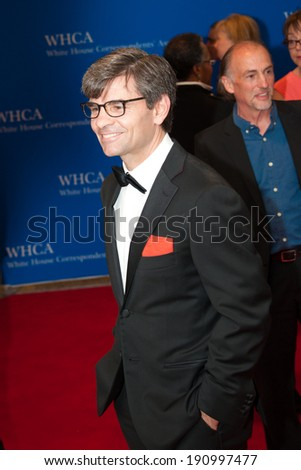 WASHINGTON MAY 3 - George Stephanopoulos arrives at the White House Correspondents� Association Dinner May 3, 2014 in Washington, DC - stock photo