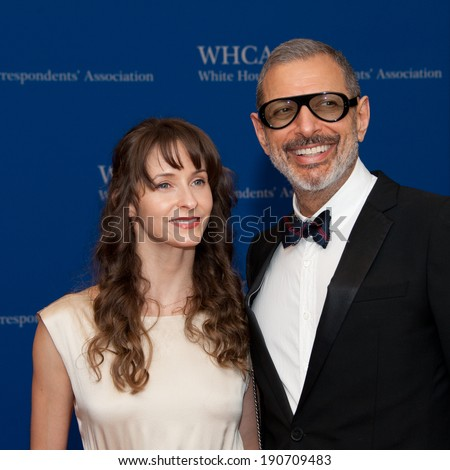 WASHINGTON MAY 3 � Jeff Goldblum and girlfriend Emilie Livingston at the White House Correspondents� Association Dinner May 3, 2014 in Washington, DC - stock photo