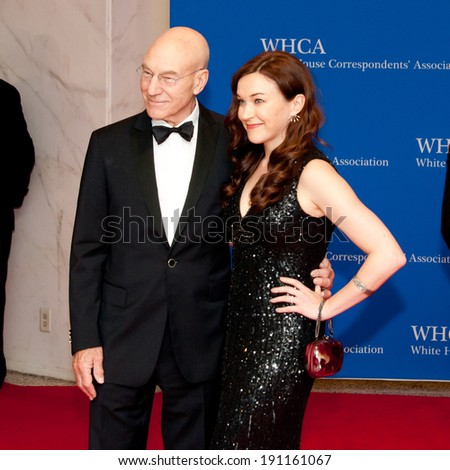 WASHINGTON MAY 3 -�� Patrick Stewart and wife Sunny Ozell arrive at the White House Correspondents� Association Dinner May 3, 2014 in Washington, DC - stock photo