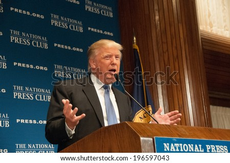 WASHINGTON - MAY 27, 2014 - Real estate mogul Donald Trump speaks to a luncheon at the National Press Club. - stock photo